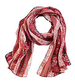 Collection 18 Runaway Floral Stripe Oblong Scarf