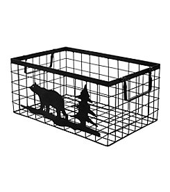 Ruff Hewn Large Bear And Tree Wire Basket