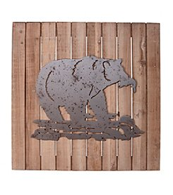 Ruff Hewn Bear Wood Plank Wall Decor