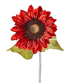 Living Quarters Faux Red Sunflower Stem