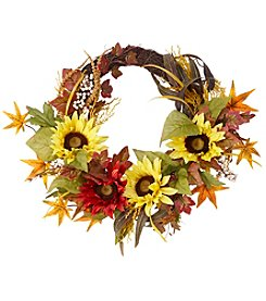 Living Quarters Sunflower and Leaves Wreath