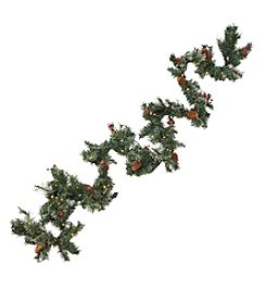 Living Quarters Pre-Lit LED 9' Berry Pinecone Garland With Timer