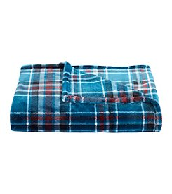 Living Quarters Teal Plaid Print Luxe Plush Throw