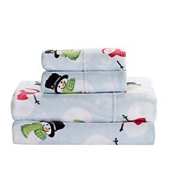 Living Quarters Cold Weather Fleece Ultra Warm Sheet Set - Snowmen