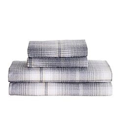 Living Quarters Heavy-Weight Flannel Sheet Set - Gray Tan Plaid