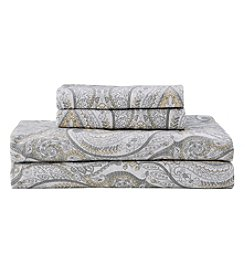 Living Quarters Heavy-Weight Flannel Sheet Set - Gray Paisley
