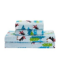 Living Quarters Heavy-Weight Flannel Sheet Set - Penguin