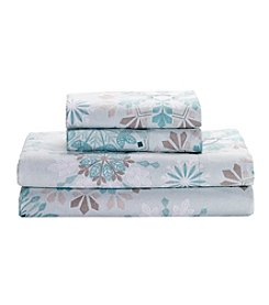 Living Quarters Heavy-Weight Flannel Sheet Set - Aqua Snowflake