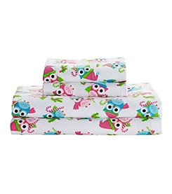 Living Quarters Heavy-Weight Flannel Sheet Set - Candy Cane Owl