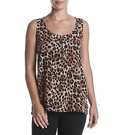 August Silk® Leopard Printed Pullover Top