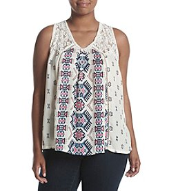 Skylar & Jade™ Plus Size V-Neck Mixed Print Swing Tank