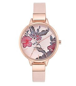 Nine West® Floral Rose Goldtone Watch