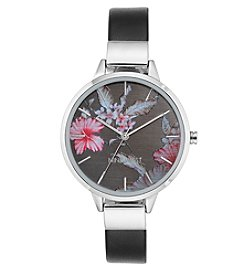 Nine West® Silvertone Floral Watch