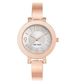 Nine West® Round Rose Goldtone Bangle Watch
