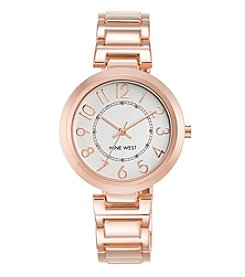 Nine West® Round Rose Goldtone Bracelet Watch