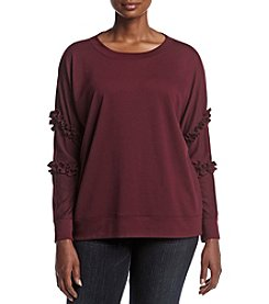Relativity® Plus Size Ruffle Sleeve Sweatshirt