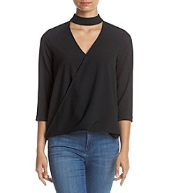 Kensie® Twist Front Choker Neck Shirt