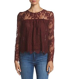 Hippie Laundry Scalloped Lace Peasant Blouse