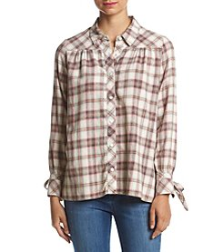 Hippie Laundry Plaid Tie Sleeve Shirt