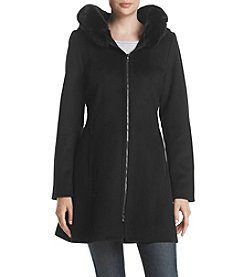 Forecaster Front Zip Faux Fur Trim Coat