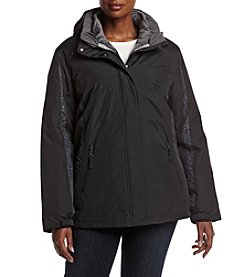 Below Zero Plus Size Printed Trim 3-in-1 Systems Coat