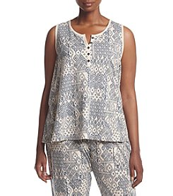 KN Karen Neuburger Plus Size Button Front Geometric Pattern Tank