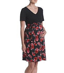 Three Seasons Maternity™ V-Neck Solid Top Print Belted Dress