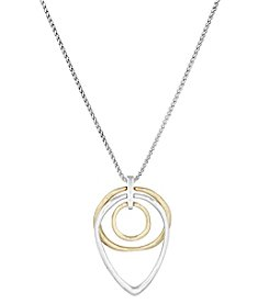 Lucky Brand® California Gardens Semi-Precious Rock Crystal Dual-Tone Trio Hoop Pendant Necklace