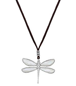 Lucky Brand® California Gardens Semiprecious Rock Crystal And Mother Of Pearl Reversible Dragonfly Pendant Necklace