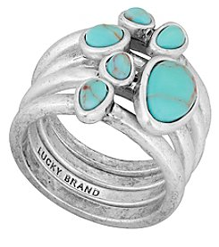 Lucky Brand® California Gardens Turquoise Semiprecious Calcite Stacked Ring