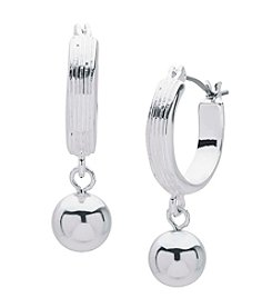 Nine West® Bead Drop Off Hoop Earrings
