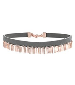 Jessica Simpson Leather Choker With Chain Fringe