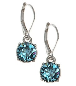 Gloria Vanderbilt™ Silvertone/Blue Leverback Drop Earrings