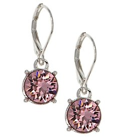 Gloria Vanderbilt™ Silvertone/Pink Leverback Drop Earrings