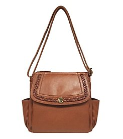 GAL Two Toned Braided Flap Crossbody