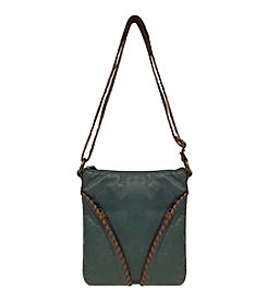 GAL Pearlized Washed With Whipstitch Slant Pocket Large Crossbody