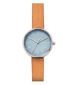 Skagen Signatur Three-Hand Silver Watch With Brown Leather Strap And Blue Dial