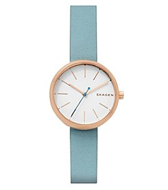Skagen Signatur Three-Hand Rose Watch With Blue Leather Strap