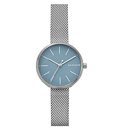 Skagen Signatur Three-Hand Silver Watch With Silver Mesh Strap And Blue Dial