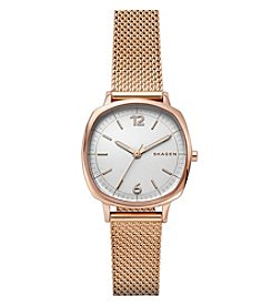 Skagen Rungsted Three-Hand Rose Goldtone Watch With Mesh Strap