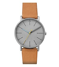 Skagen Men's Holst Three-Hand Silver Watch With Silver Plating And Brown Leather Strap