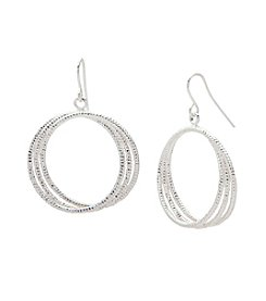 Nine West® Textured Hoop Drop Earrings