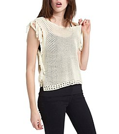 Silver Jeans Co. Open Weave Fringe Pullover