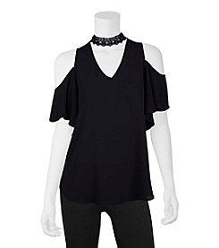 A. Byer Cold Shoulder Choker Neck Top