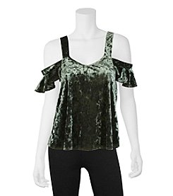 A. Byer Velvet Cold Shoulder Top