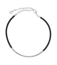 Anne Klein® Silvertone Leather Choker Necklace