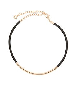 Anne Klein® Goldtone Leather Choker Necklace