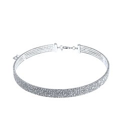 Anne Klein® Silvertone Crystal Coil Choker Necklace