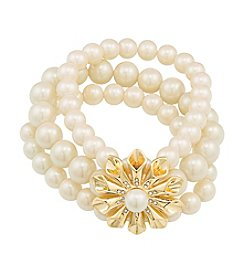 Carolee® Pearl Glam Three Row Simulated Pearl And Floral Burst Stretch Bracelet
