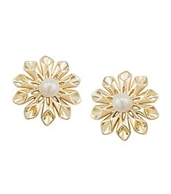 Carolee® Pearl Glam Pave Pearl Flower Clip Earrings